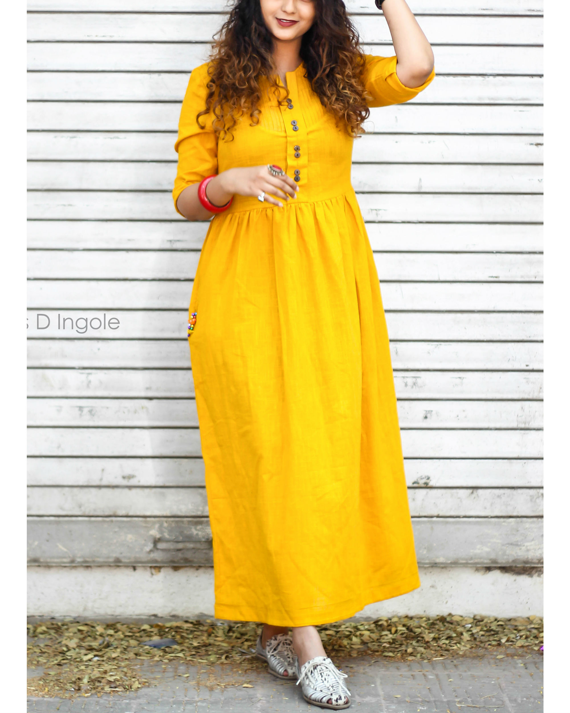 Mustard sunshine pocket dress