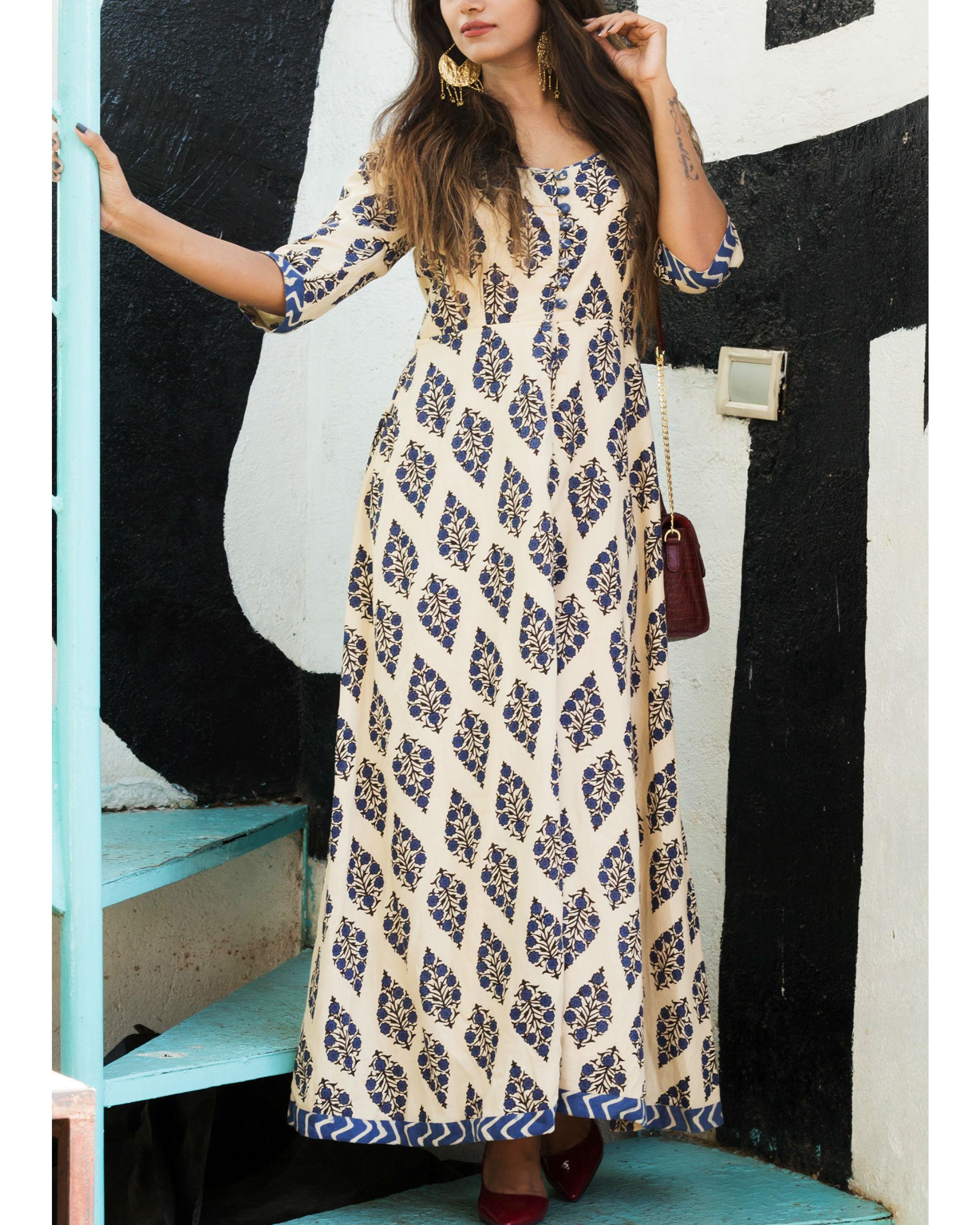 Floral geometric border dress