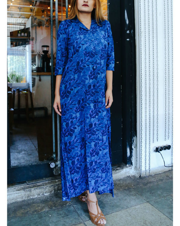 Blue autumn leaves maxi