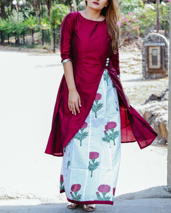 Ox-blood floral layered dress