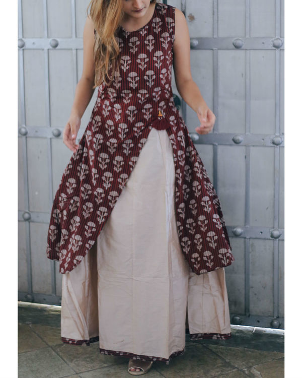 Wine floral layered dress