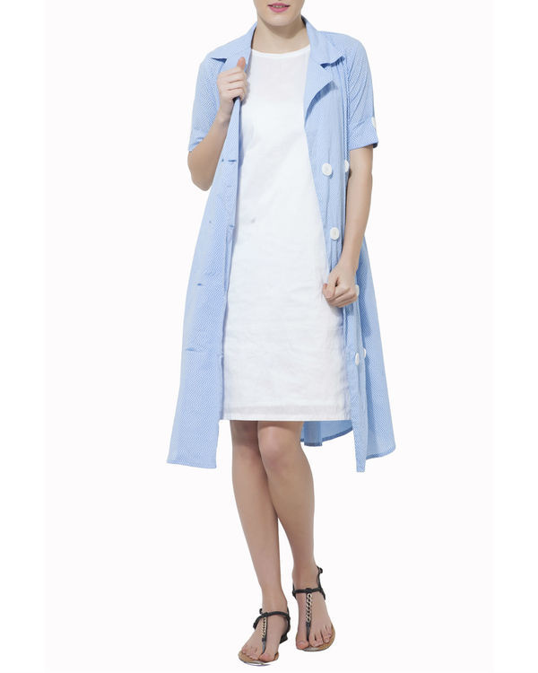 Set of blue cape with white dress