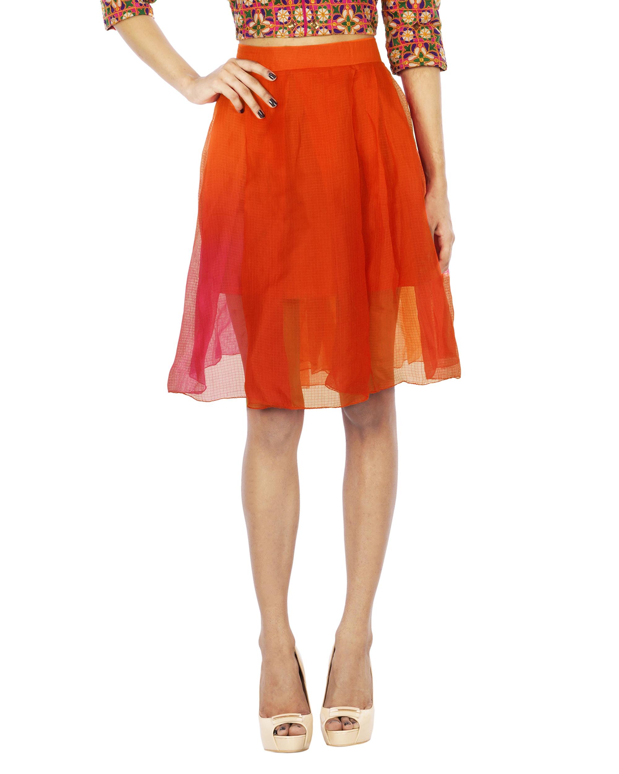 Multi color chanderi skirt