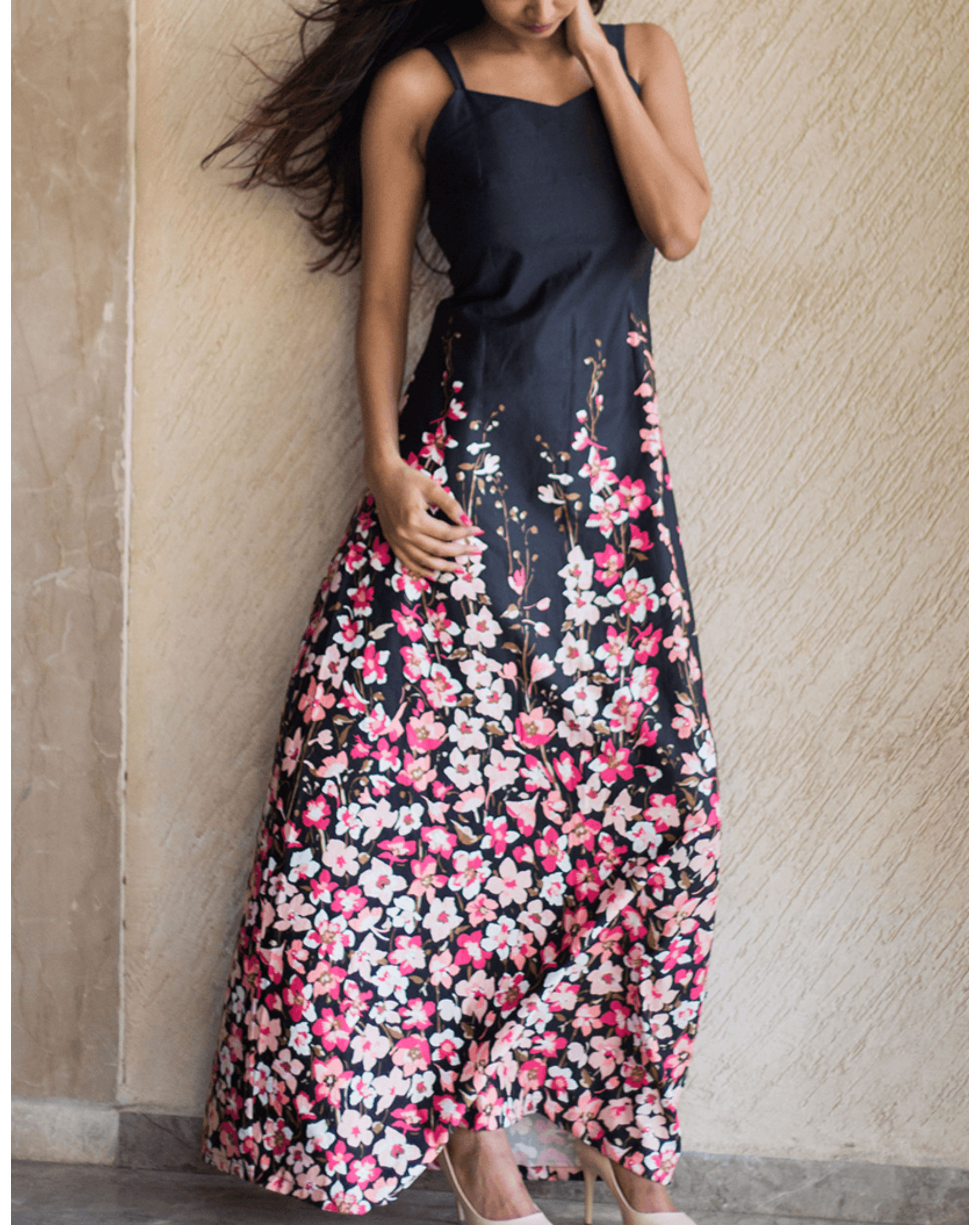 Slate floral gown