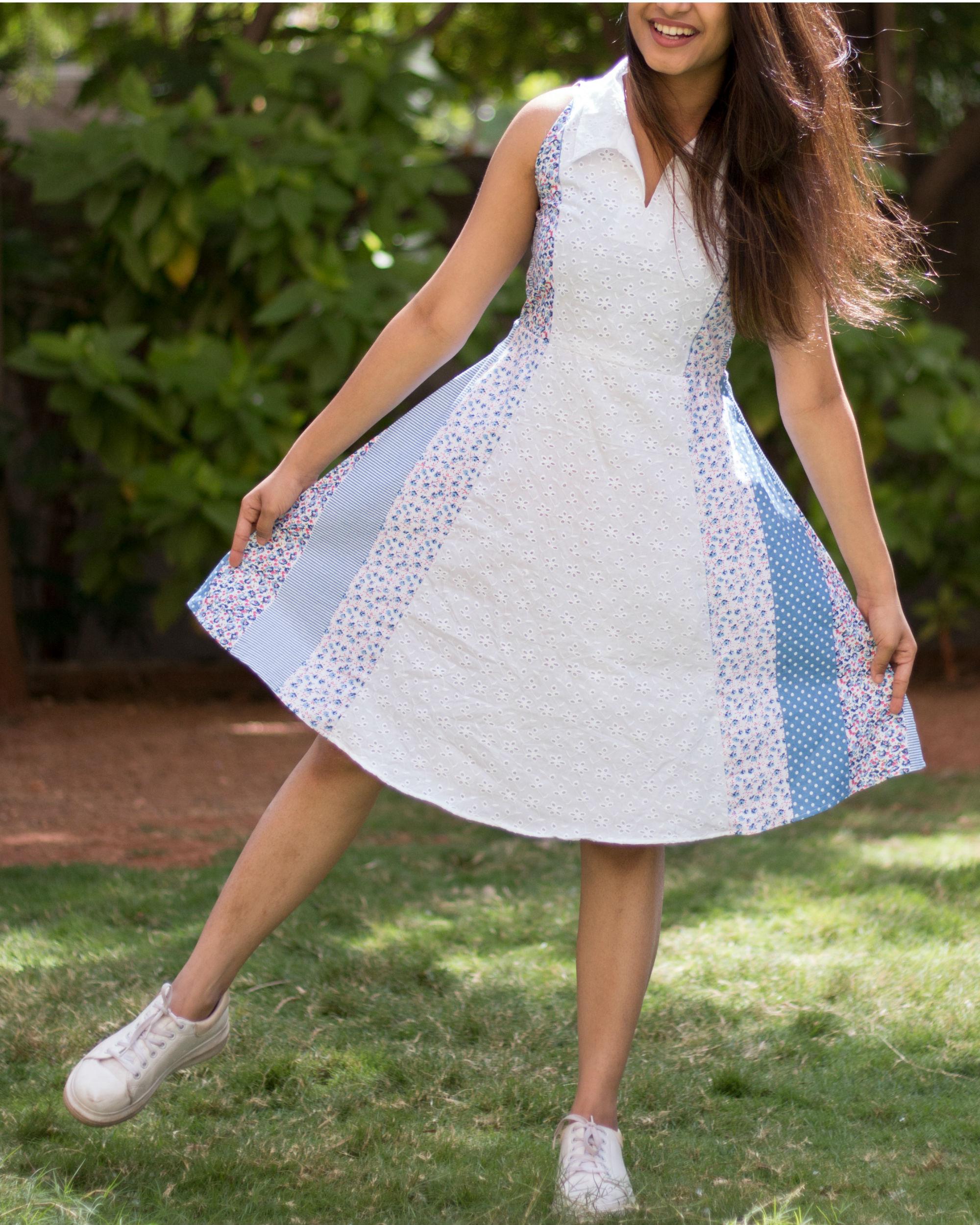 White multiprint dress