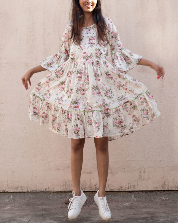 Floral ruffled sleeve dress