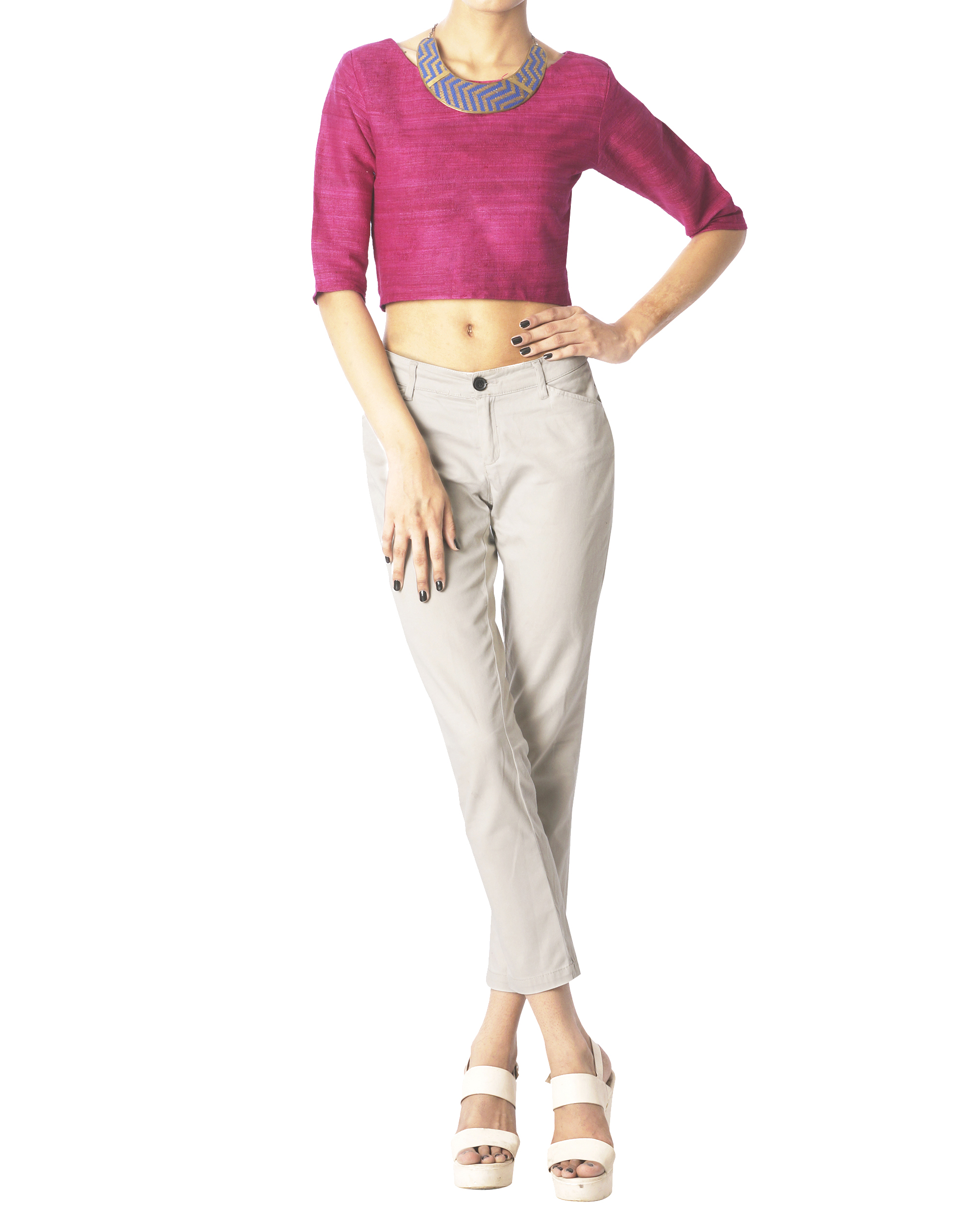 Raspberry matka silk crop top