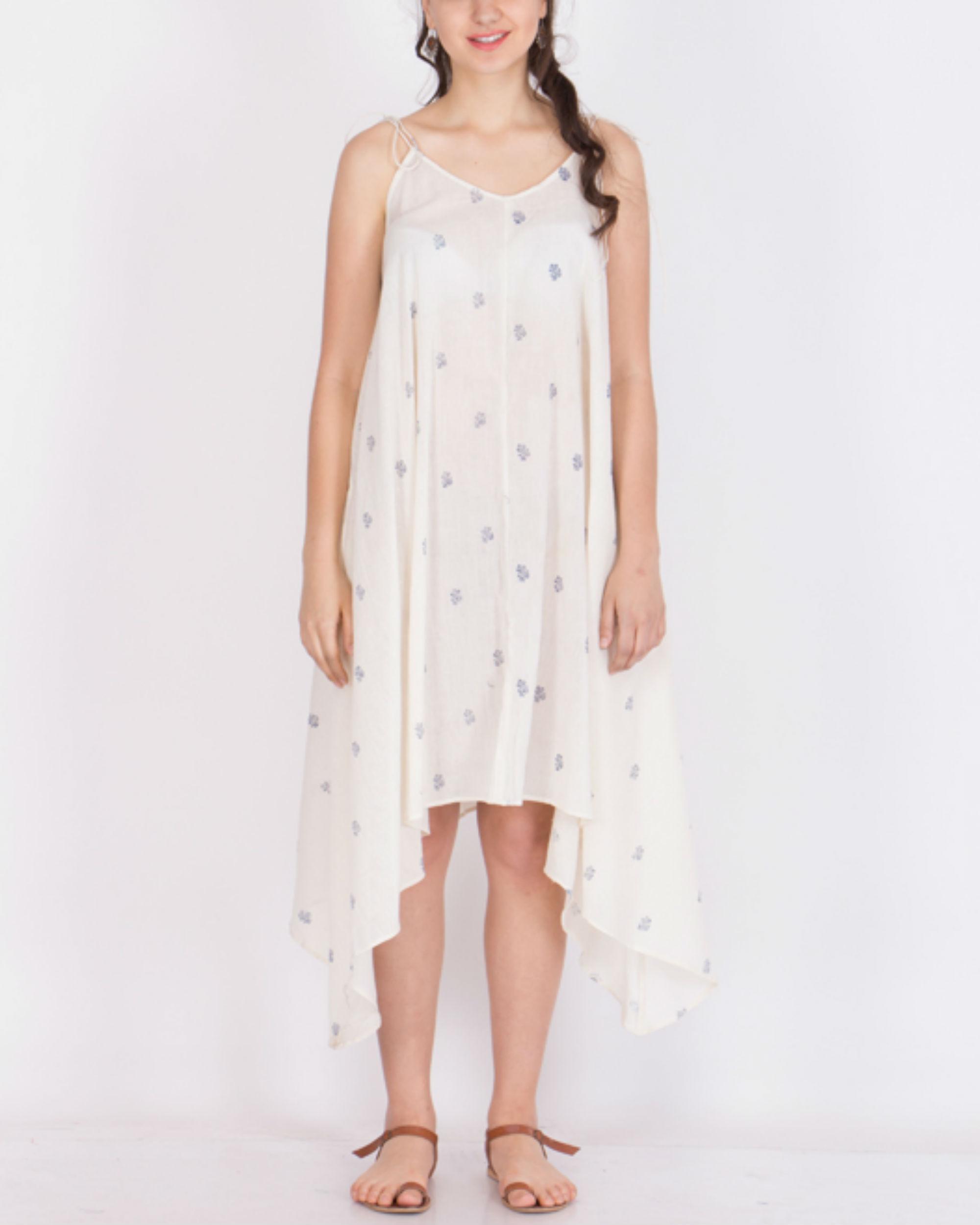 Muslin block printed dress