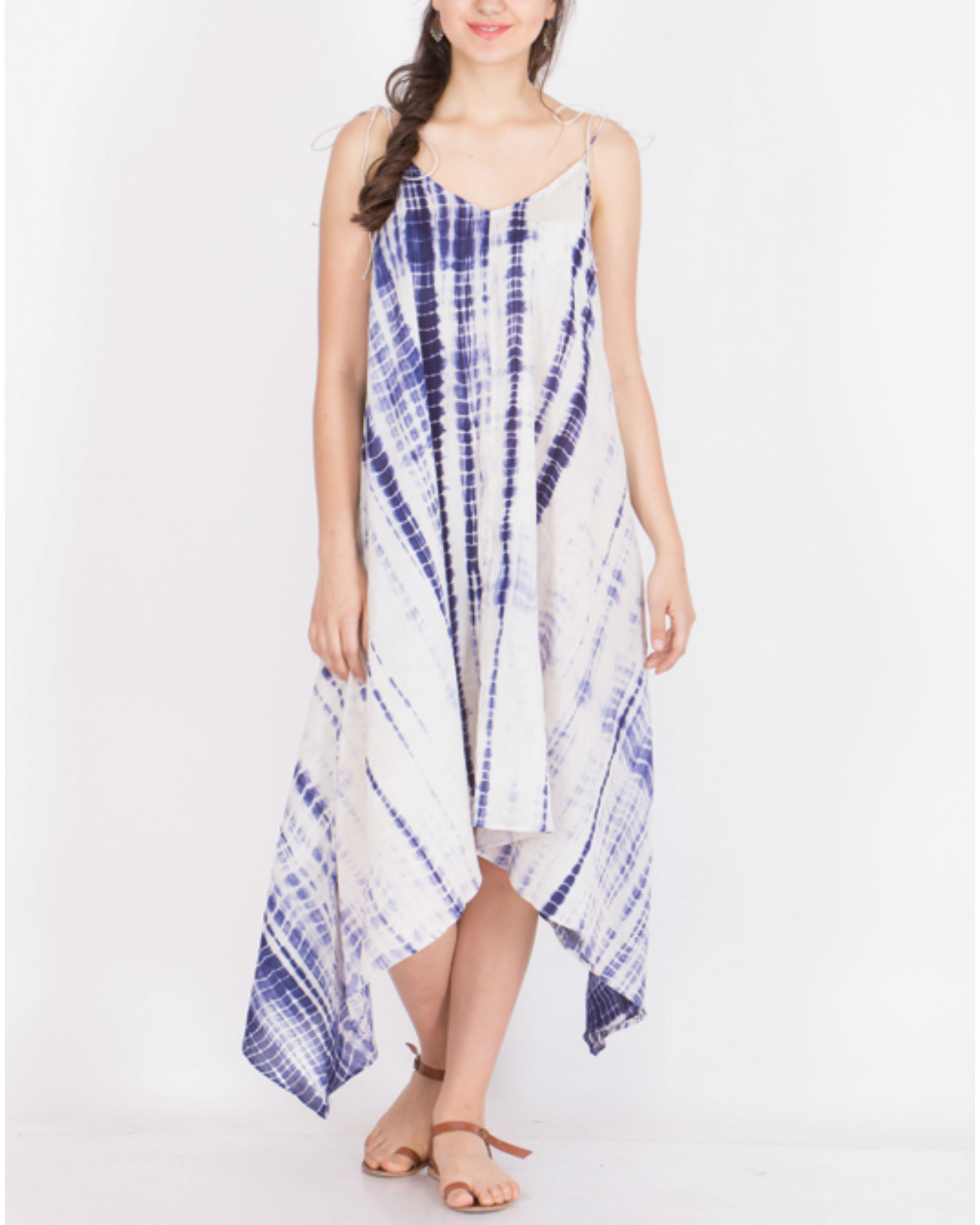 Muslin tie dye asymmetrical dress
