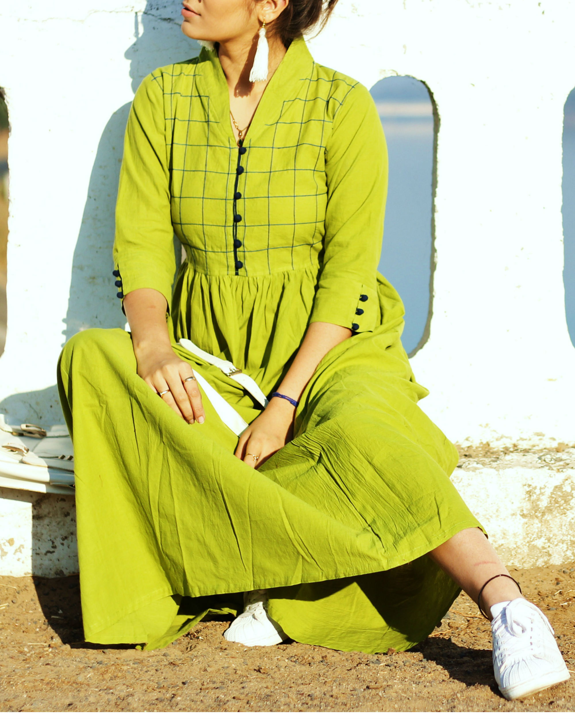 Green check gathered maxi