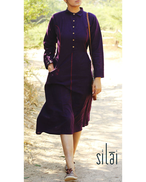 Aubergine shirt dress