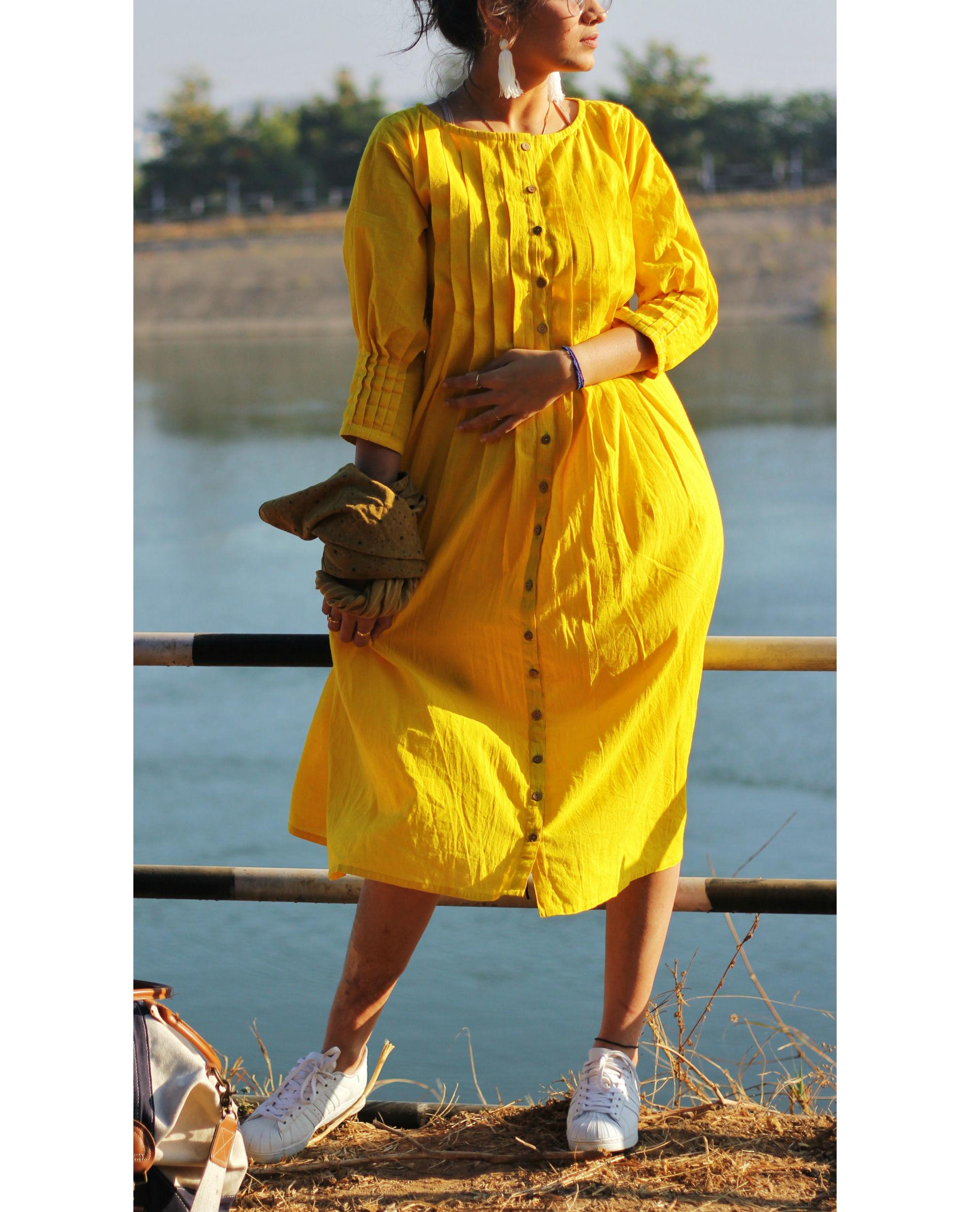 Yellow pintuck dress