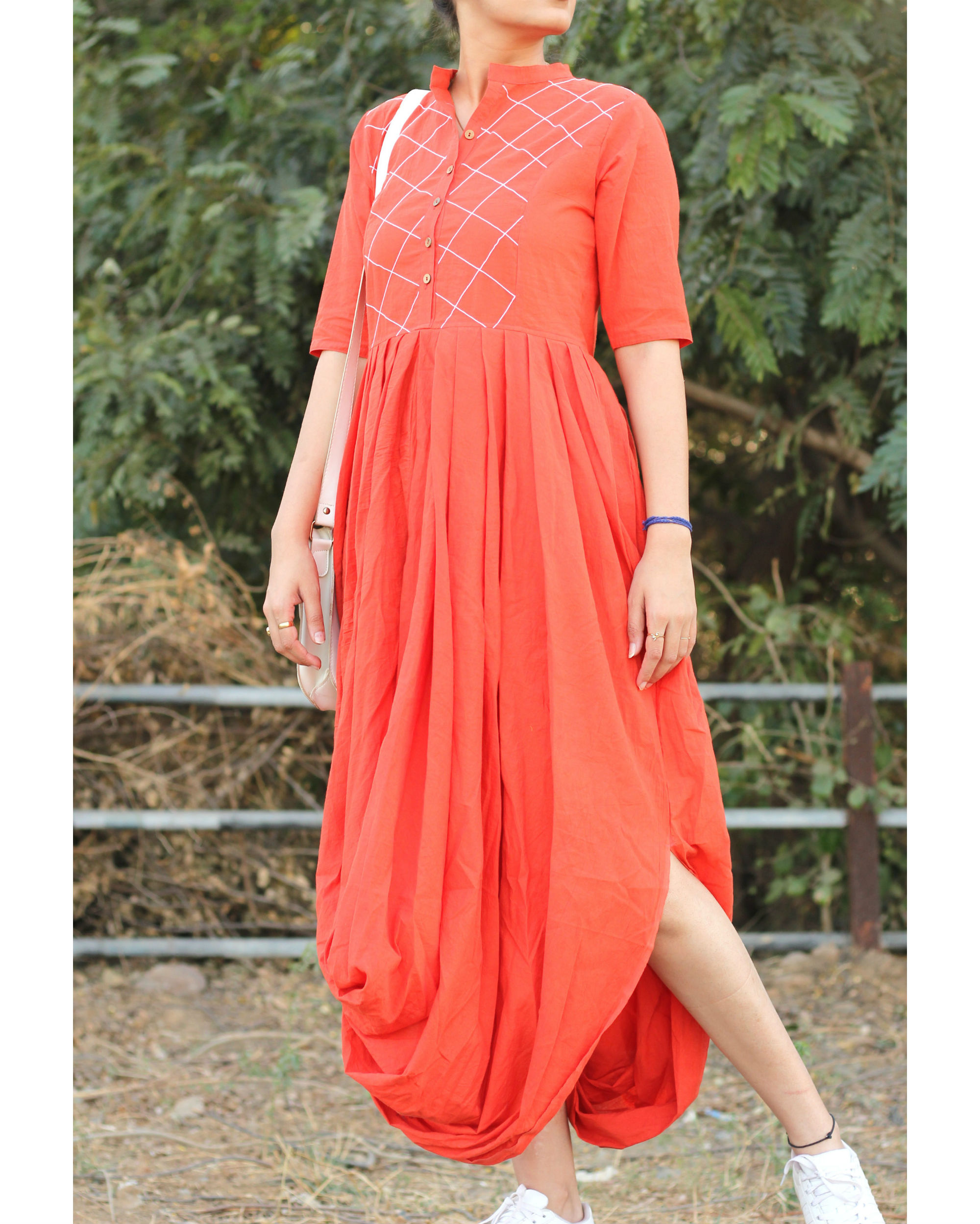 Peach dhoti dress