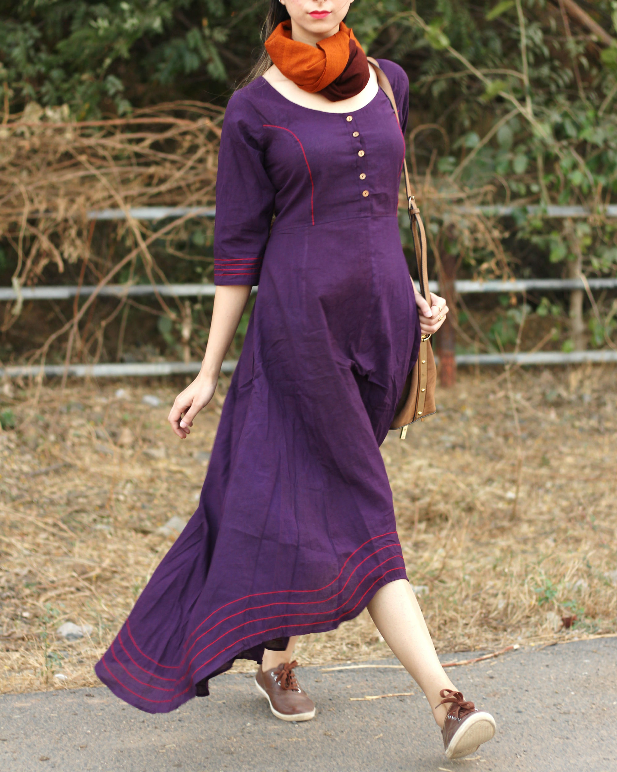 Purple lopsided dress
