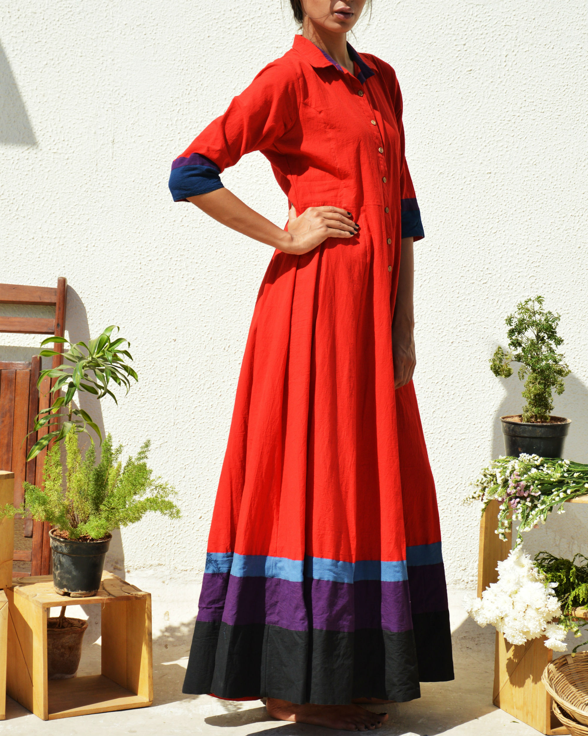 Crimson multi border dress