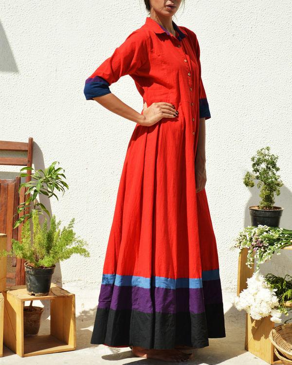 Crimson multi border dress