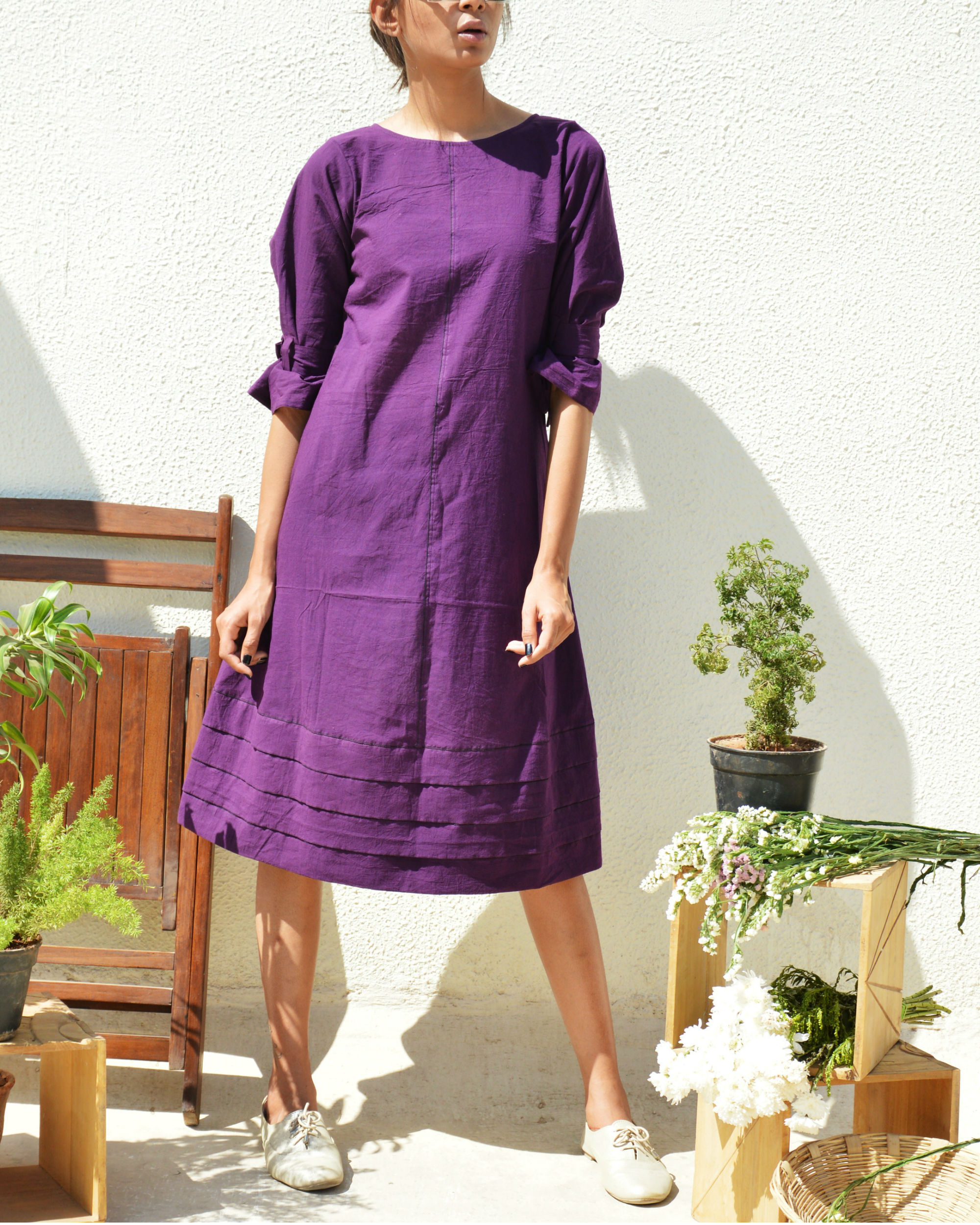 Purple tiered hem dress