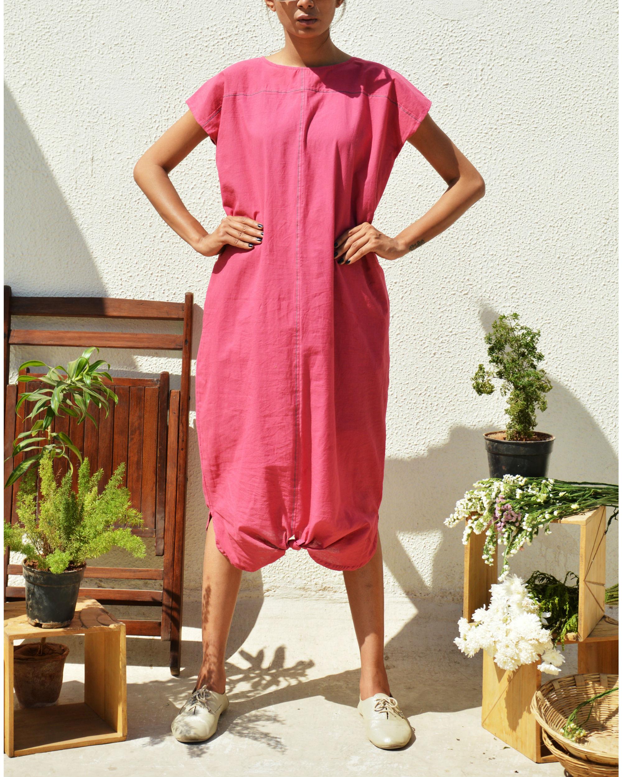 Peony pink drape dress