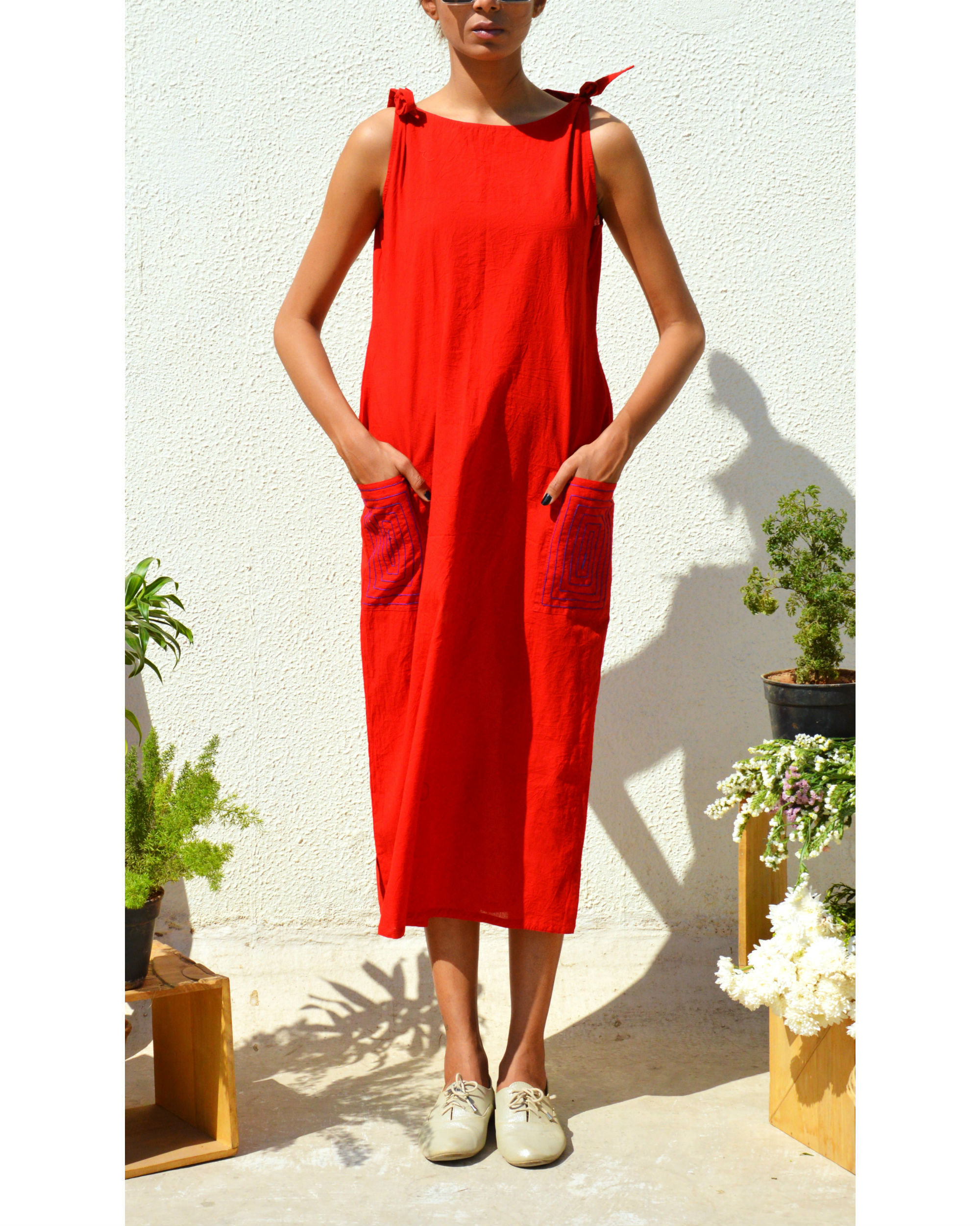 Bright red knot dress