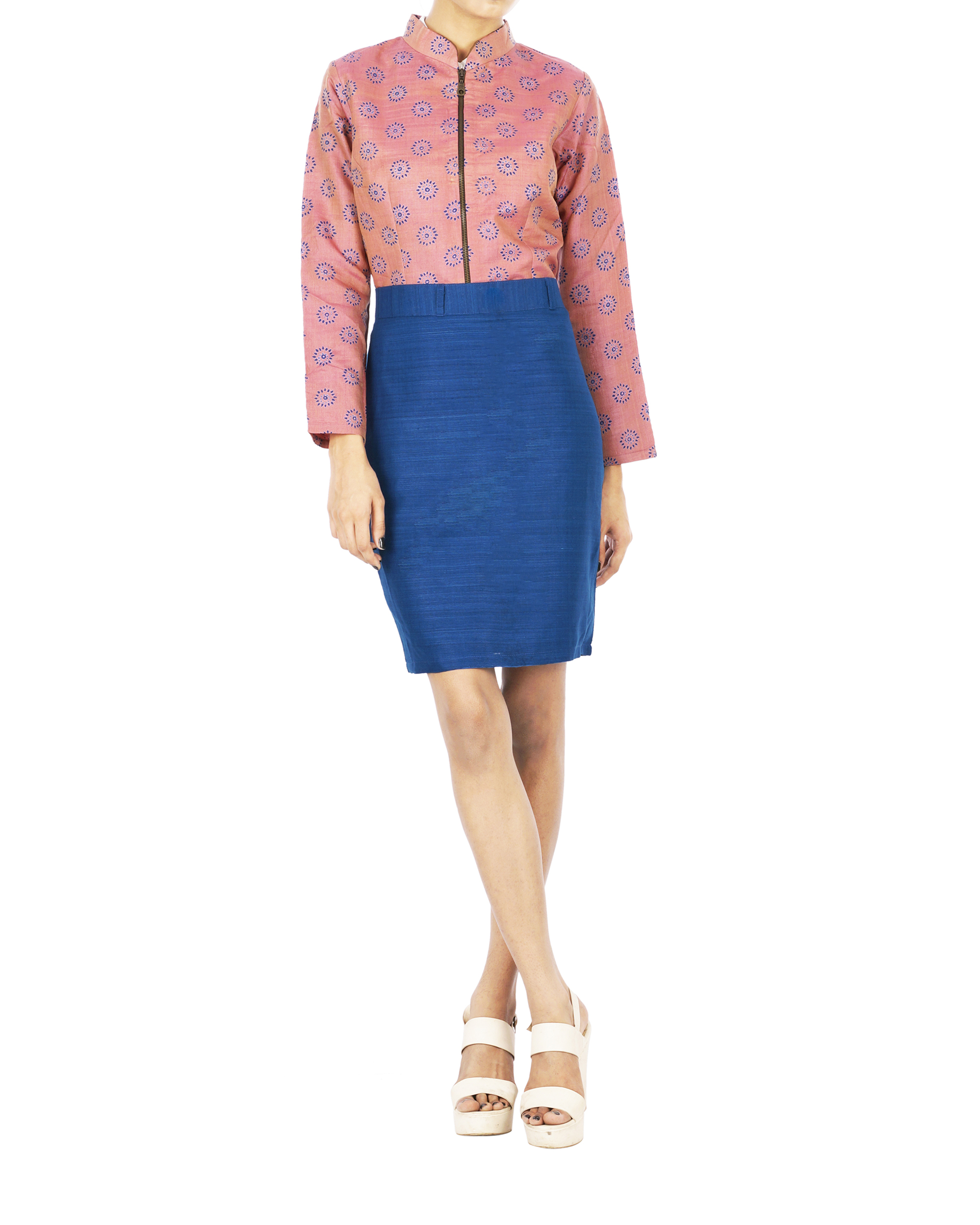 Tussar silk pencil skirt