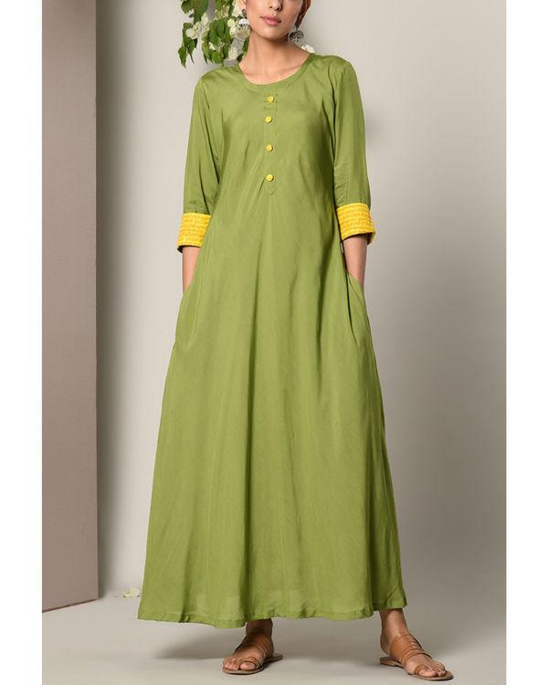 Green yellow cuff dress