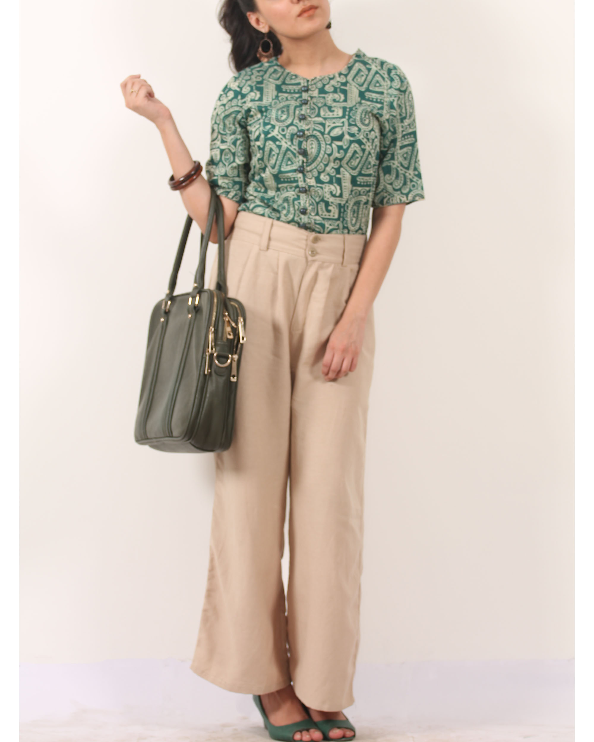 Warli print buttoned top