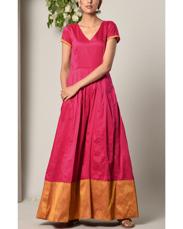 Pink panelled border dress