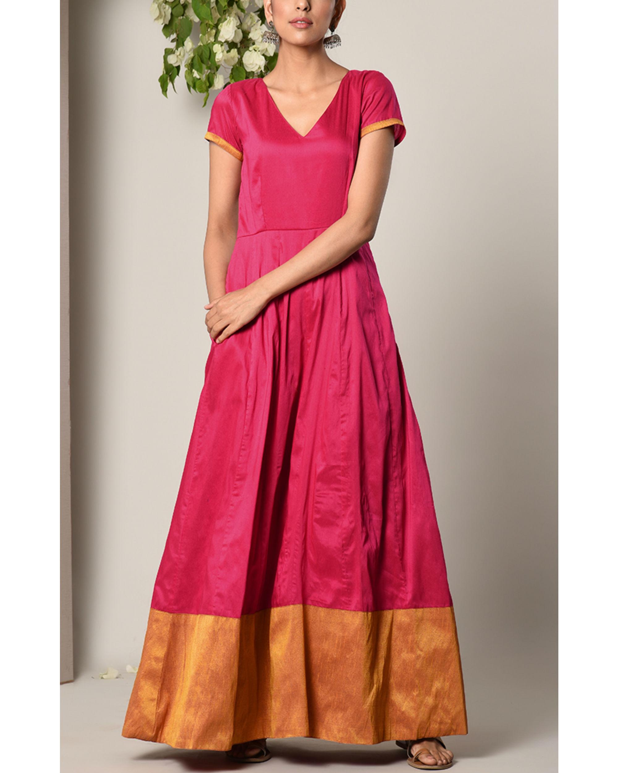 Pink panelled border dress