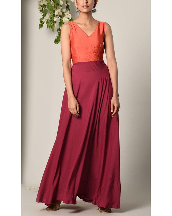 Orange and maroon colour block dress