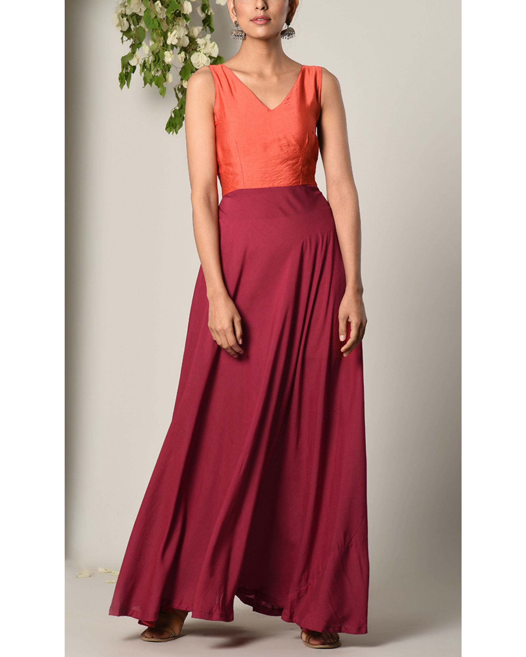 Orange and maroon colour block dress