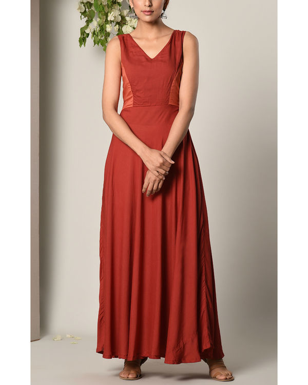 Rust red contrast yoke dress