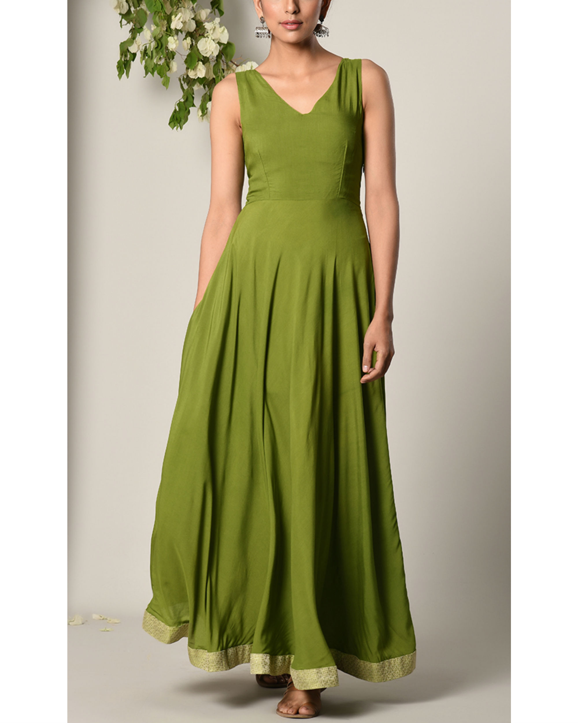 Moss green gathered dress by trueBrowns | The Secret Label