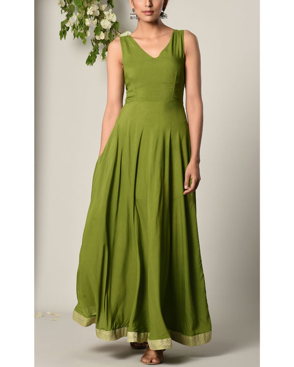 Moss green gathered dress