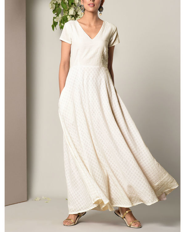 White grid flare dress