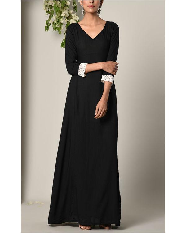 Black sleeve crochet dress