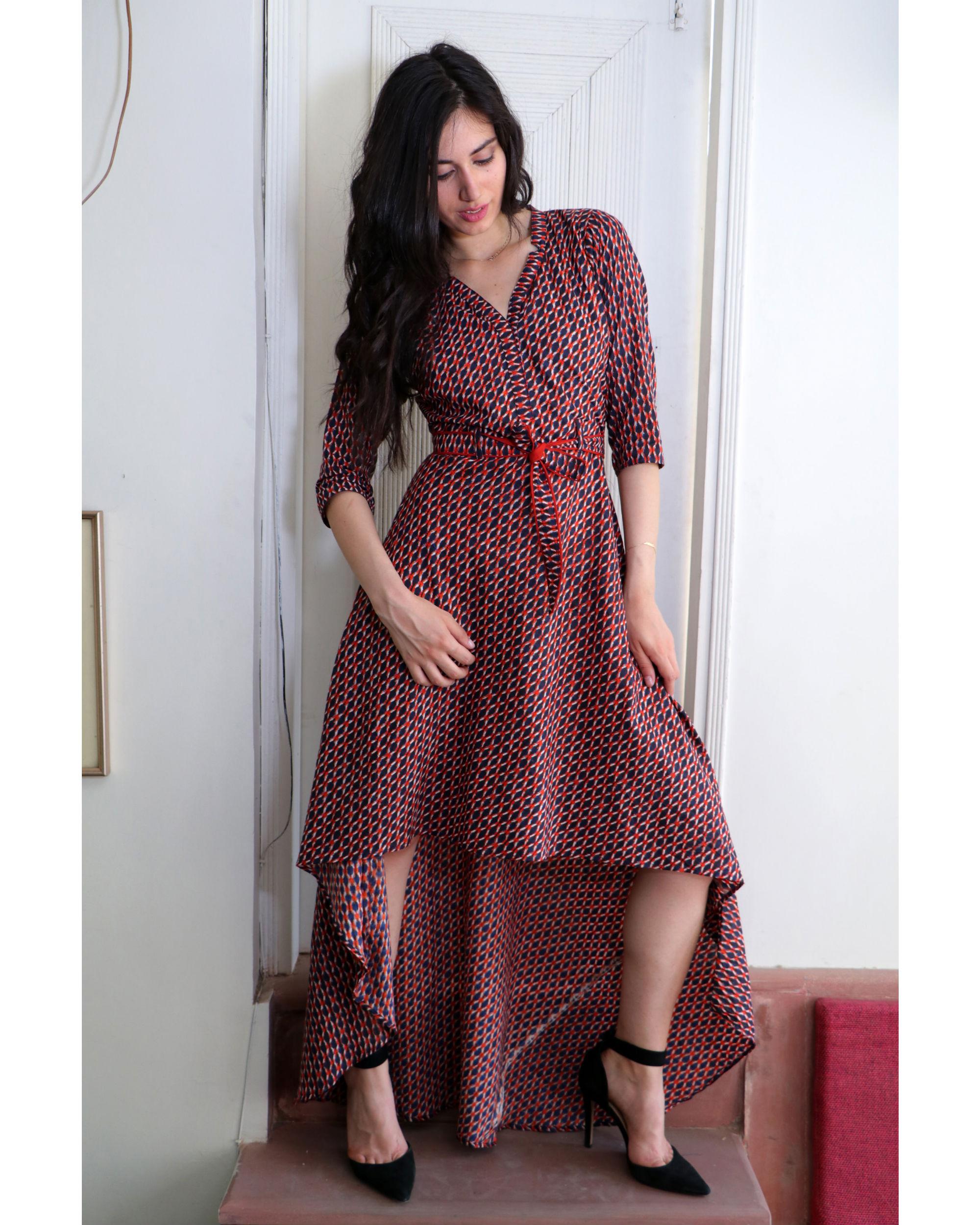 Checkered belt dress