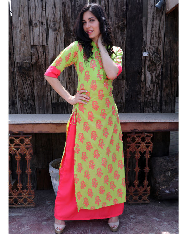 Basil and coral double layered dress