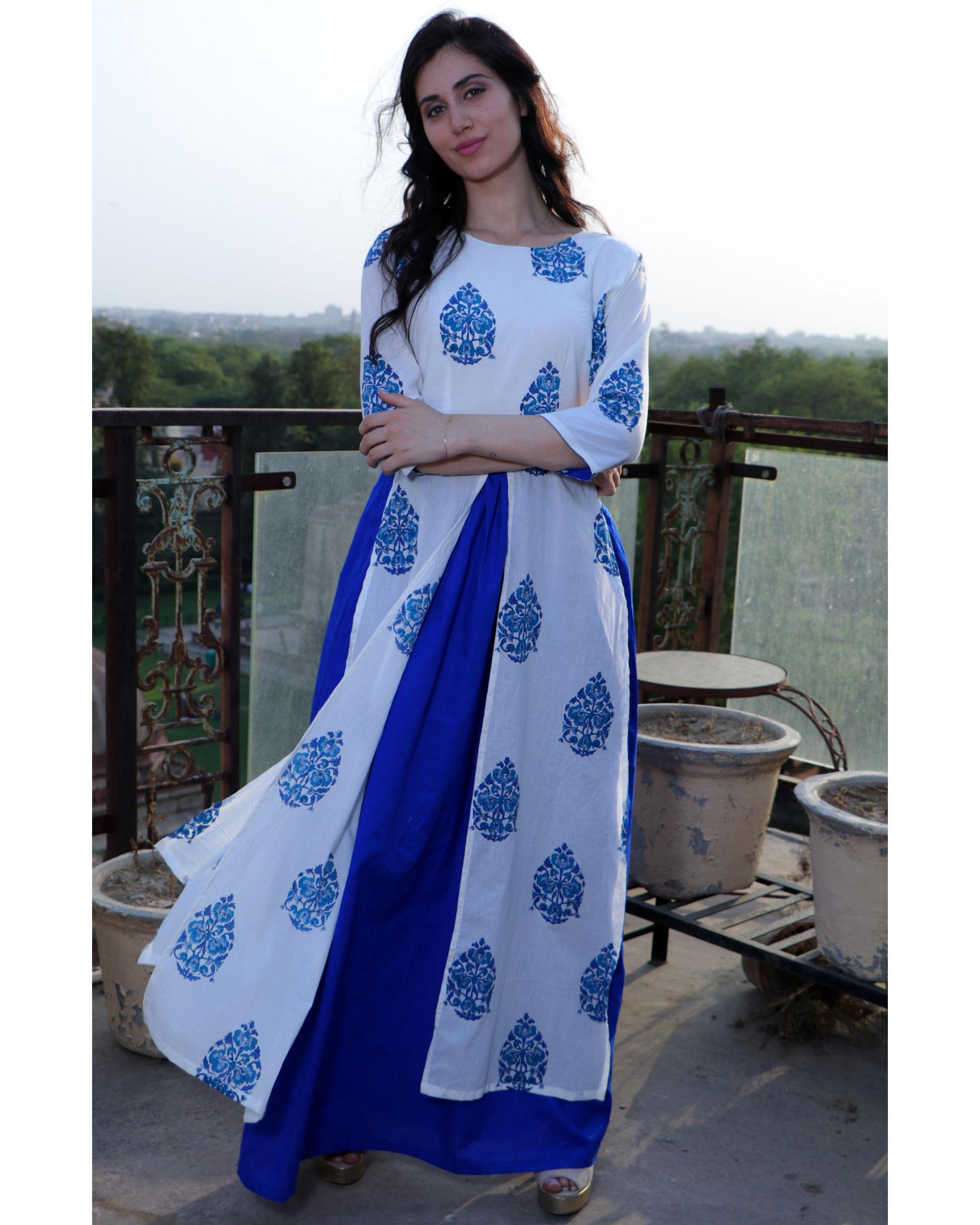 Royal blue twin slit dress
