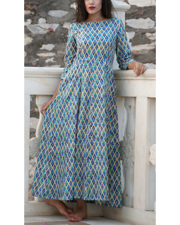 Blue checkered maxi