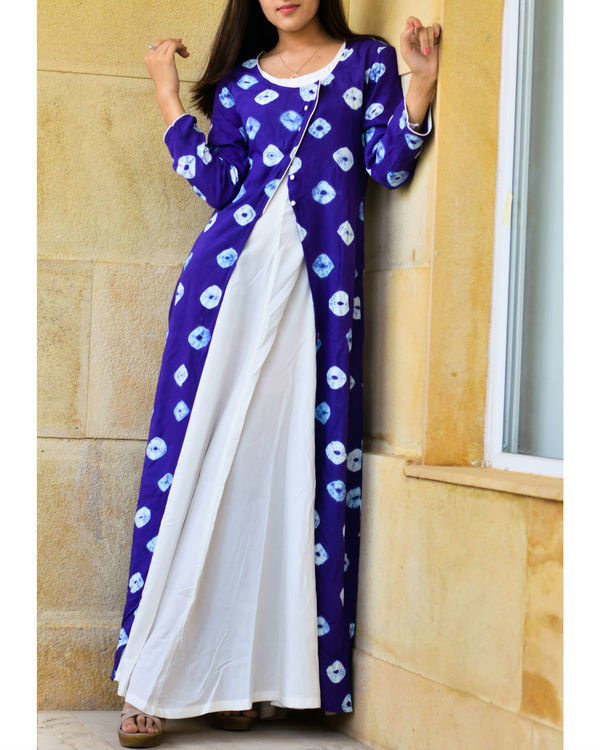 Blue bandhej layered dress