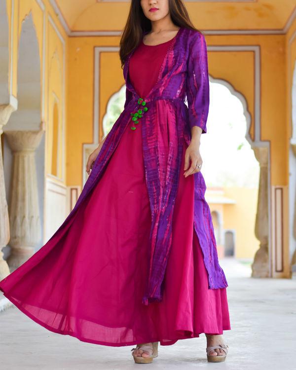 Purple tasseled cape with maxi