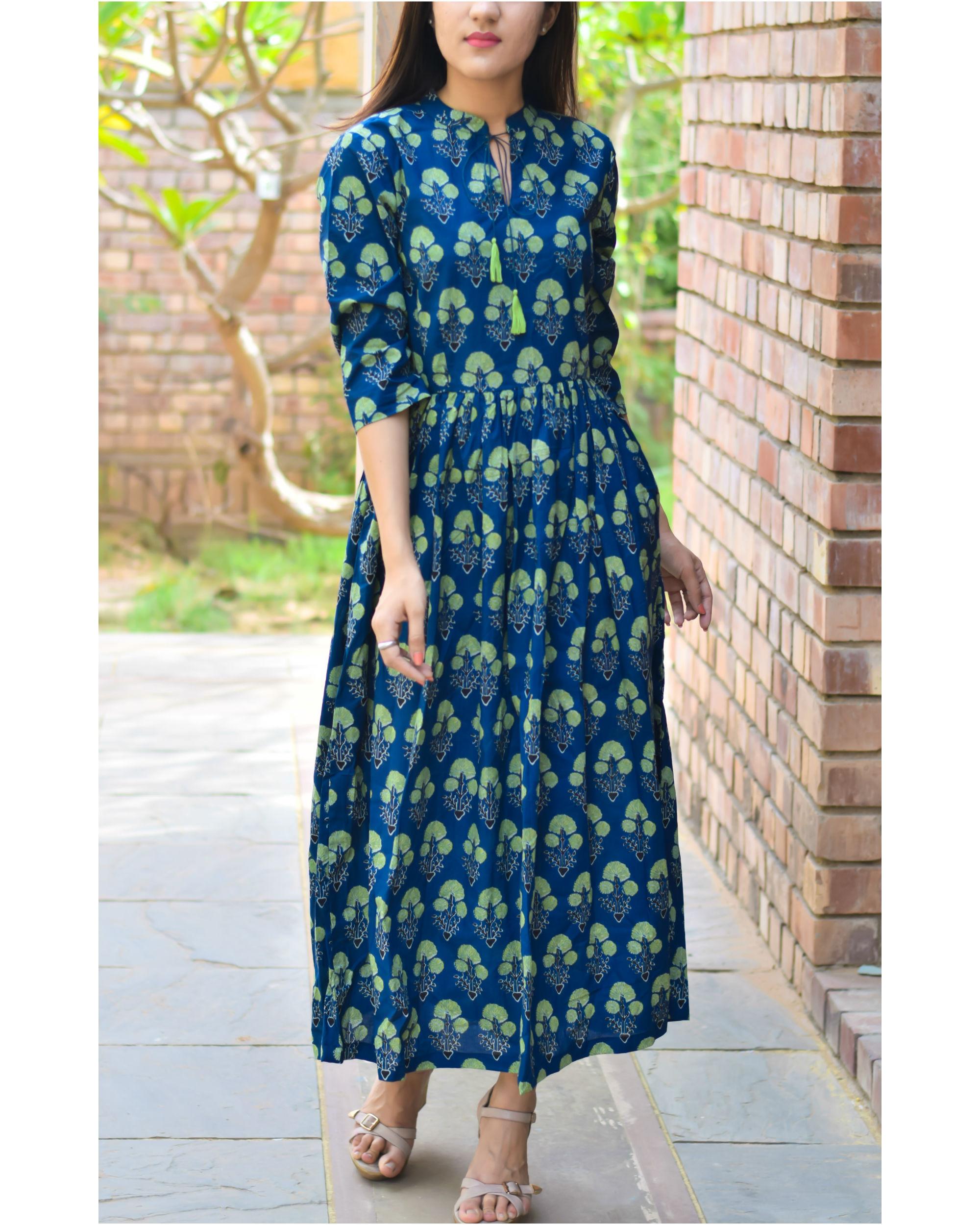 Blue and green tassel dress