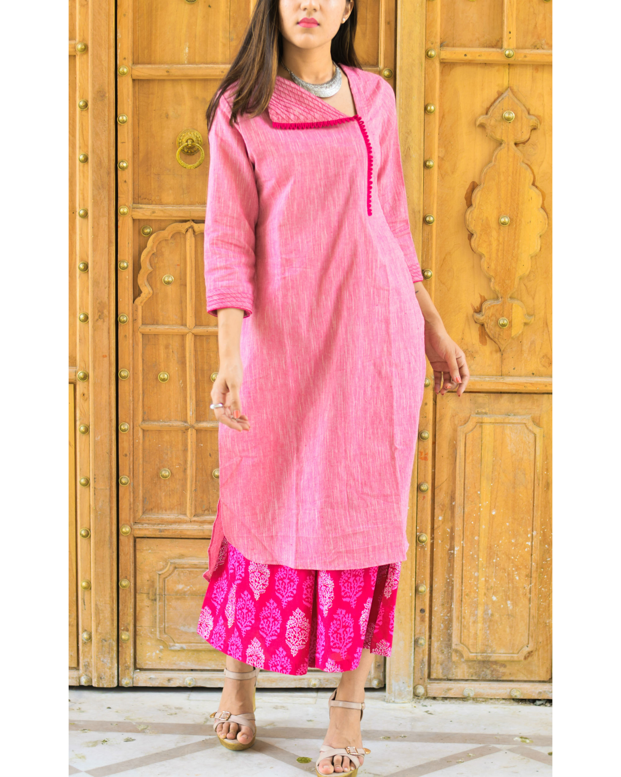Pink flap tunic and culottes set