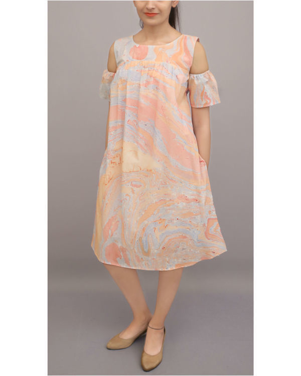 Marble dye cold shoulder dress