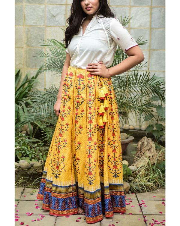 Yellow tasseled skirt