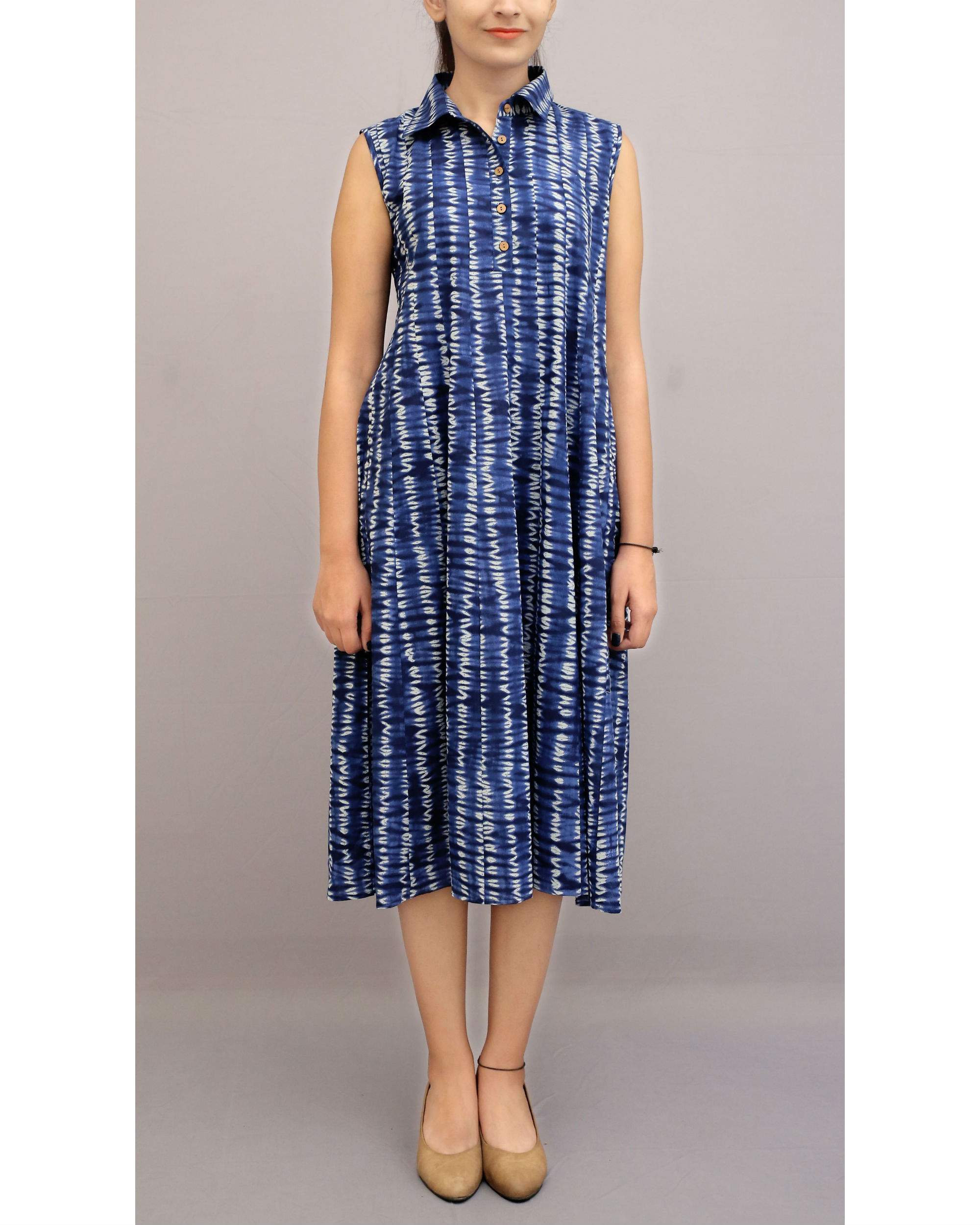 Shibori shirt collar dress