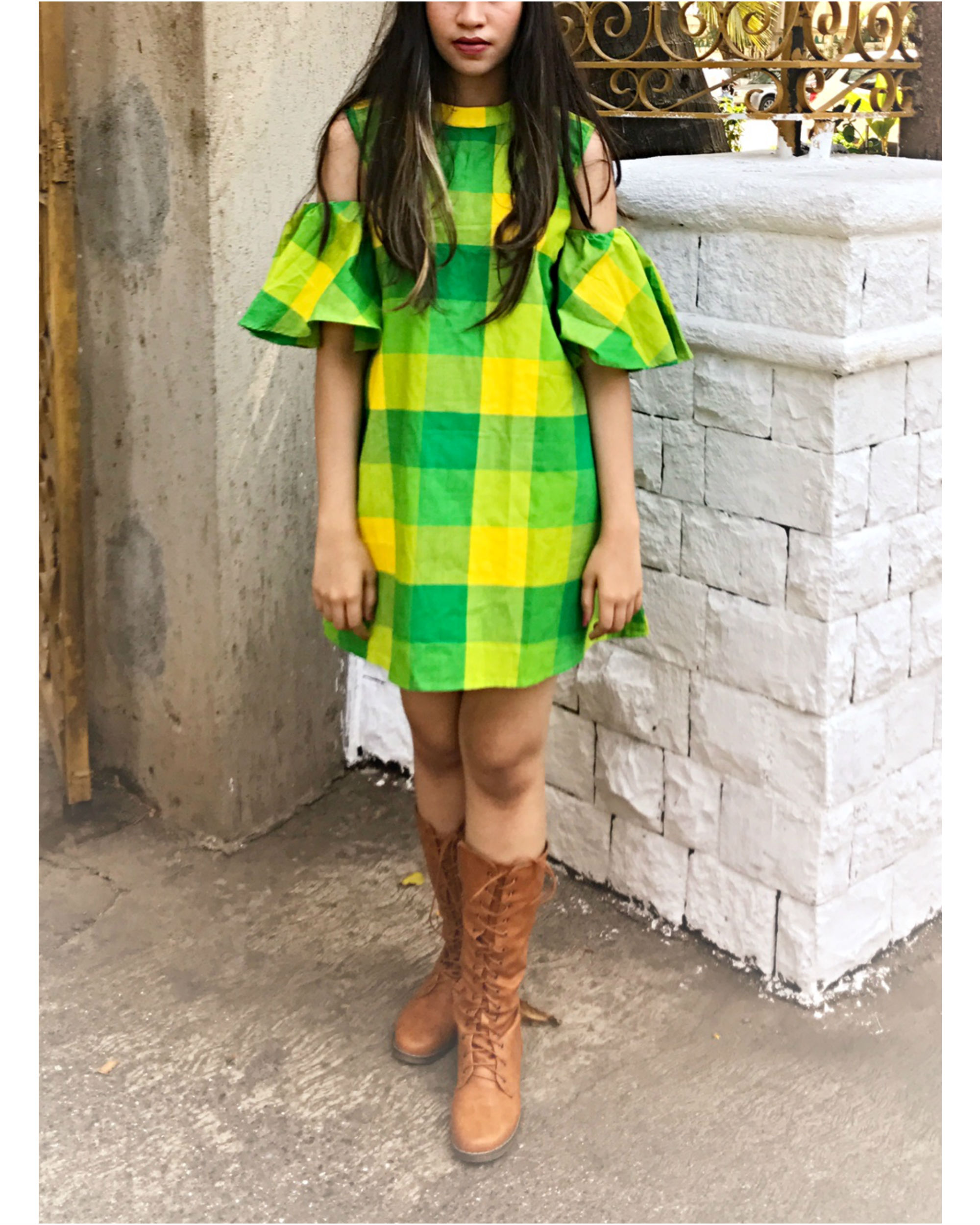Green checkered cold shoulder dress