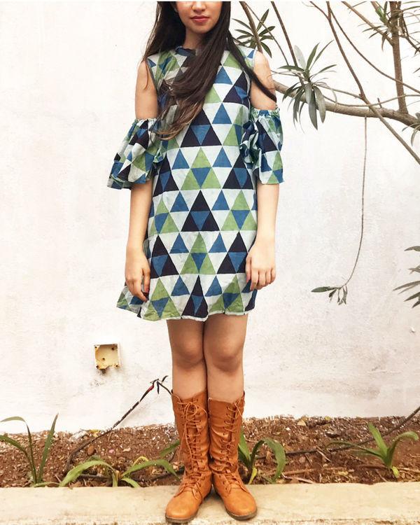 Blue triangle cold shoulder dress