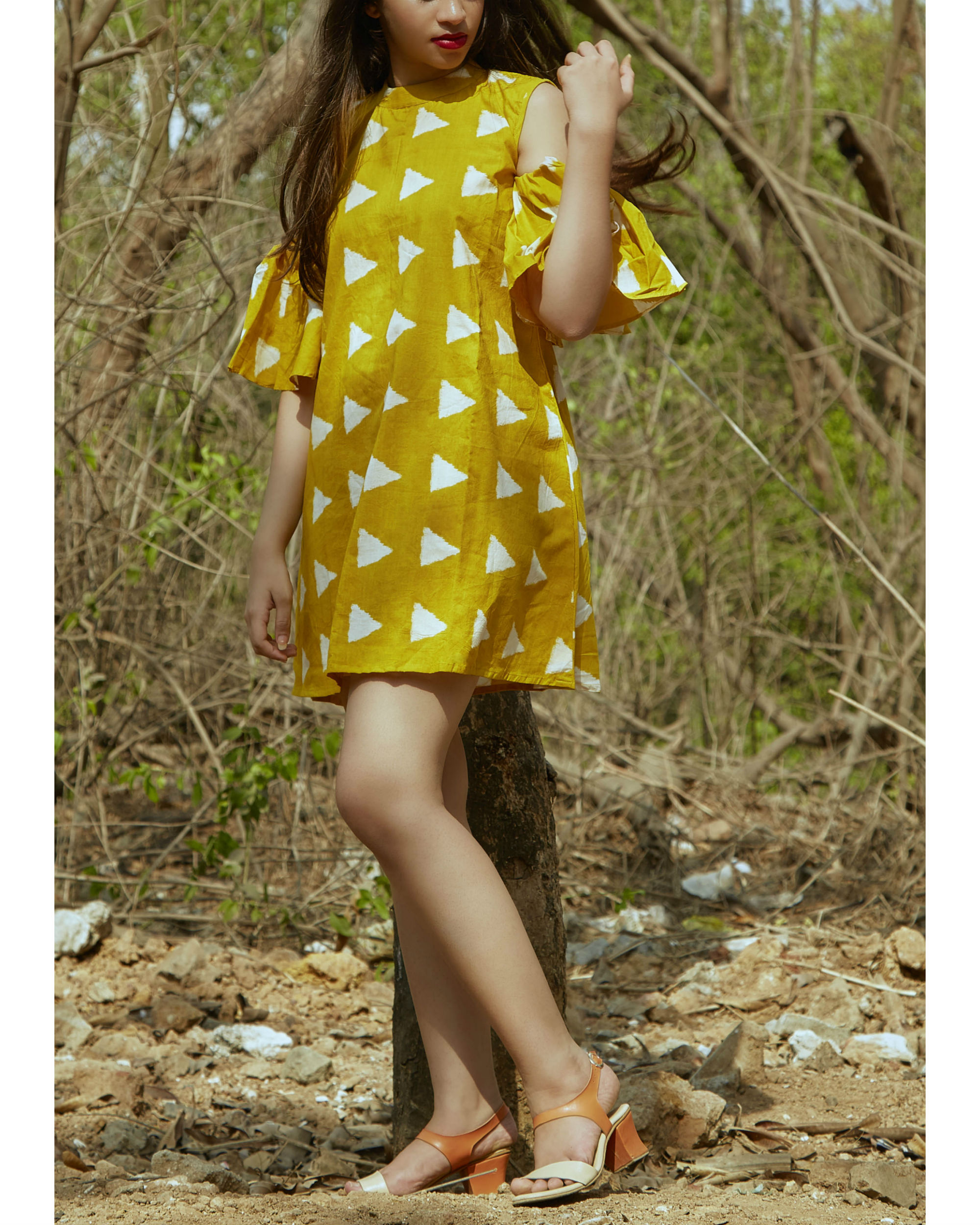 Yellow block cold shoulder dress