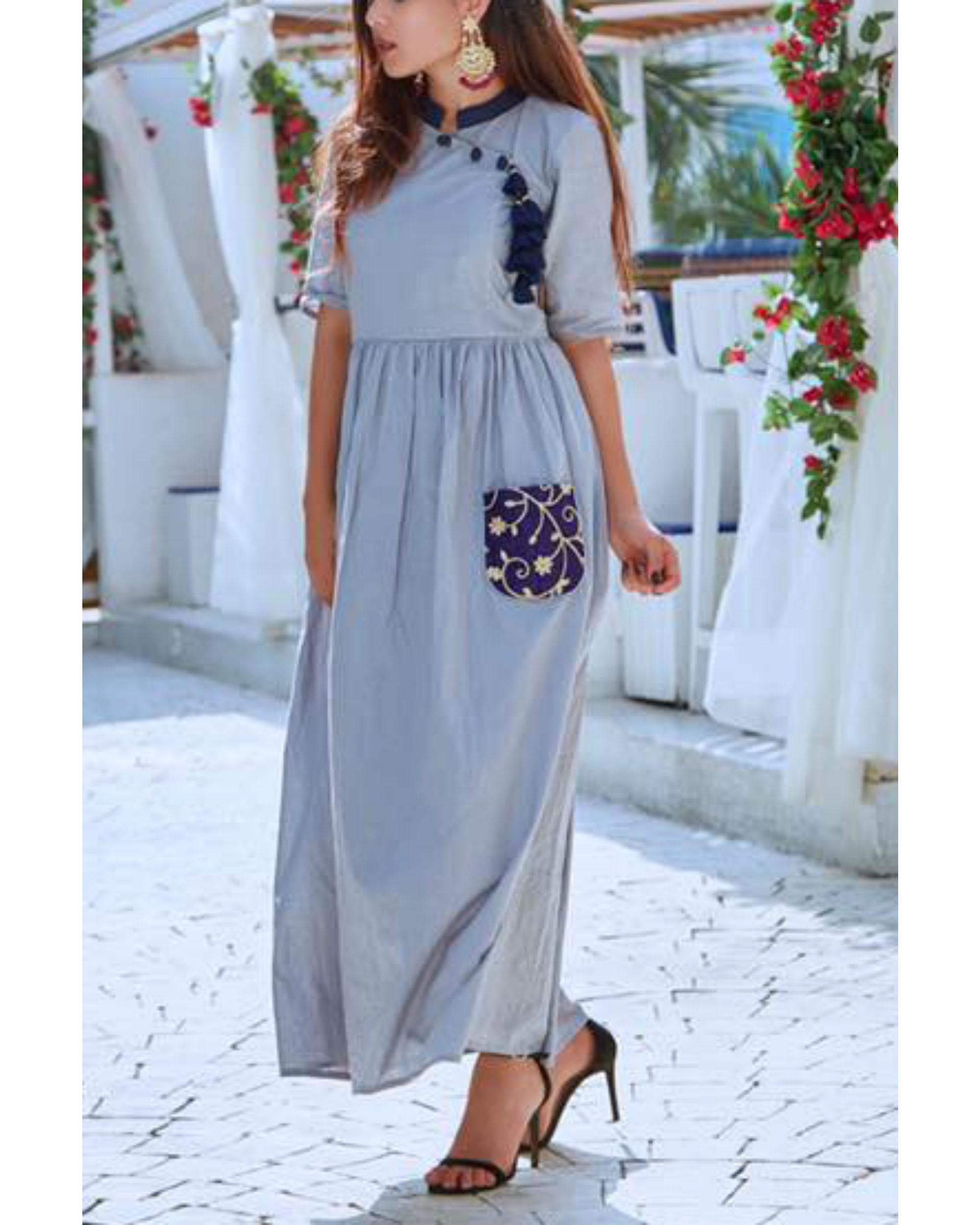 Ash grey pocket dress